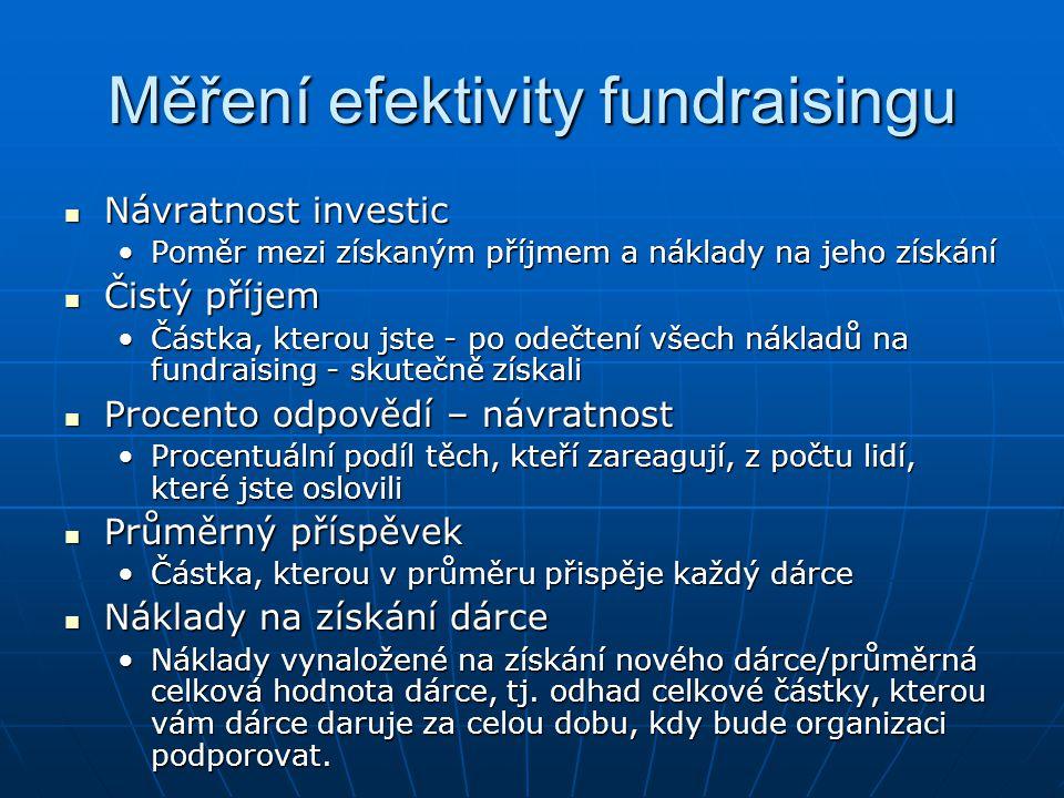 Měření efektivity fundraisingu Návratnost investic Návratnost investic Poměr mezi získaným příjmem a náklady na jeho získáníPoměr mezi získaným příjme
