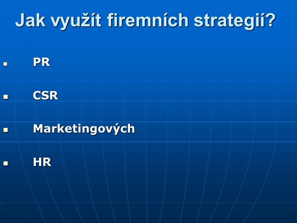 Jak využít firemních strategií? PR PR CSR CSR Marketingových Marketingových HR HR