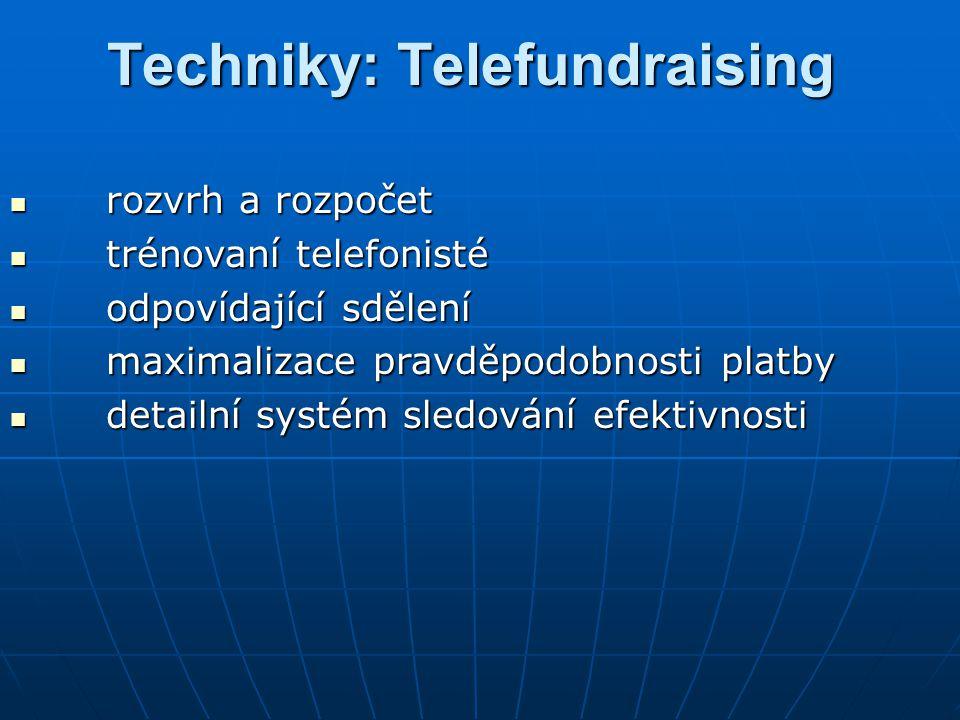 Techniky: Telefundraising rozvrh a rozpočet rozvrh a rozpočet trénovaní telefonisté trénovaní telefonisté odpovídající sdělení odpovídající sdělení ma