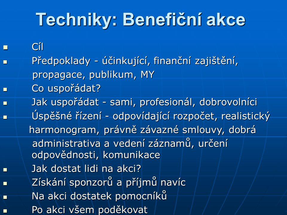 Techniky: Benefiční akce Cíl Cíl Předpoklady - účinkující, finanční zajištění, Předpoklady - účinkující, finanční zajištění, propagace, publikum, MY p