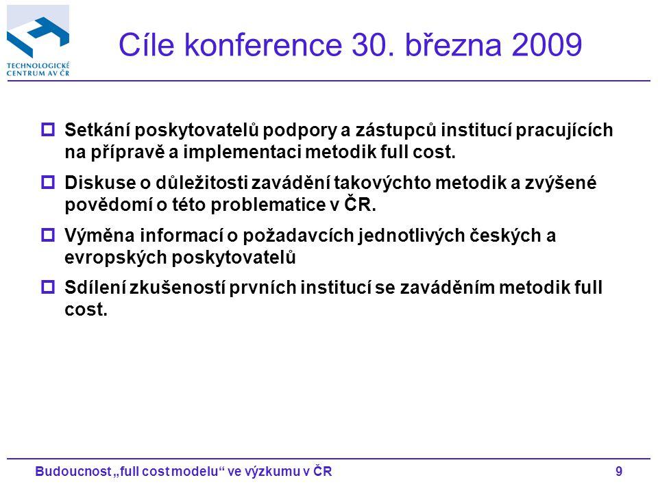 """9Budoucnost """"full cost modelu ve výzkumu v ČR Cíle konference 30."""