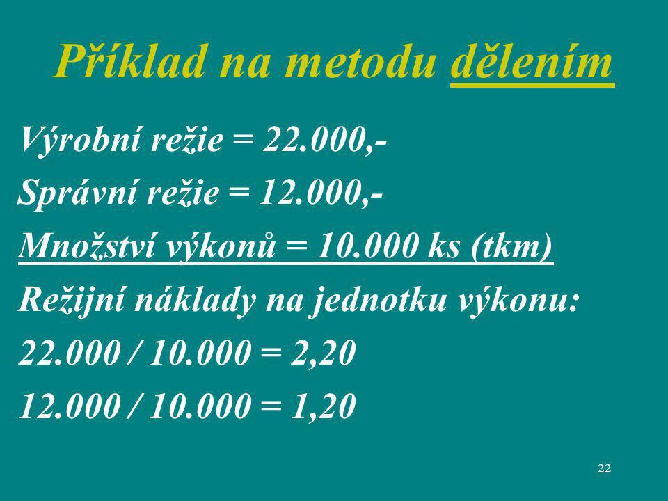 22 Příklad na metodu dělením Výrobní režie = 22.000,- Správní režie = 12.000,- Množství výkonů = 10.000 ks (tkm) Režijní náklady na jednotku výkonu: 2