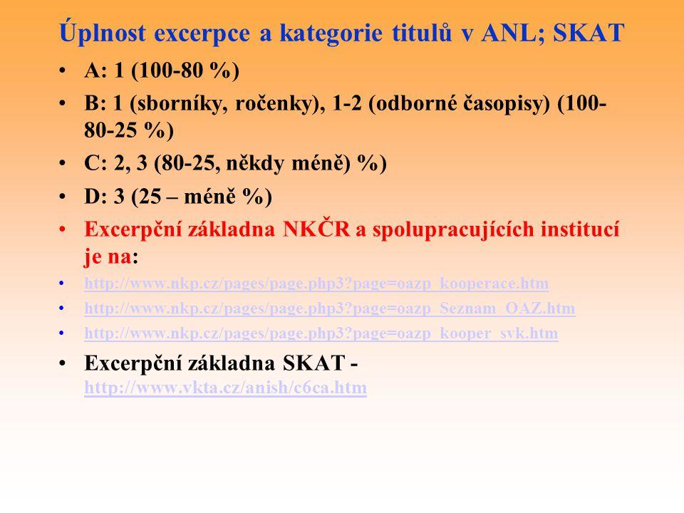 Úplnost excerpce a kategorie titulů v ANL; SKAT A: 1 (100-80 %) B: 1 (sborníky, ročenky), 1-2 (odborné časopisy) (100- 80-25 %) C: 2, 3 (80-25, někdy