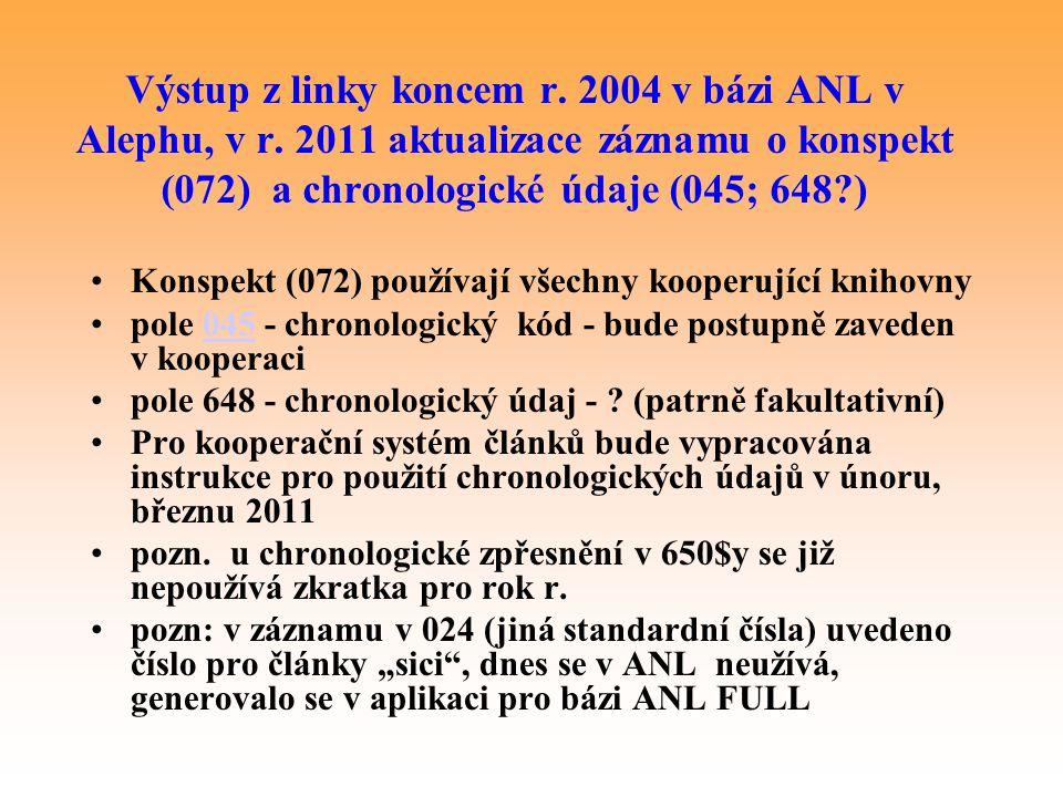 Výstup z linky koncem r. 2004 v bázi ANL v Alephu, v r. 2011 aktualizace záznamu o konspekt (072) a chronologické údaje (045; 648?) Konspekt (072) pou