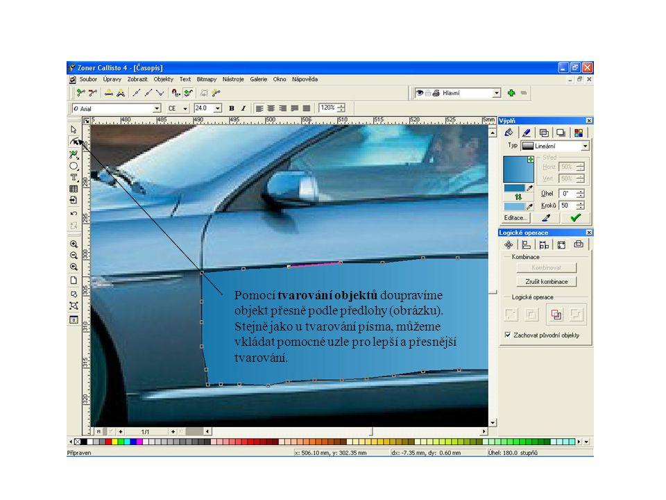 Pomocí tvarování objektů doupravíme objekt přesně podle předlohy (obrázku). Stejně jako u tvarování písma, můžeme vkládat pomocné uzle pro lepší a pře
