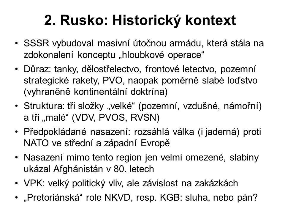 """2. Rusko: Historický kontext SSSR vybudoval masivní útočnou armádu, která stála na zdokonalení konceptu """"hloubkové operace"""" Důraz: tanky, dělostřelect"""