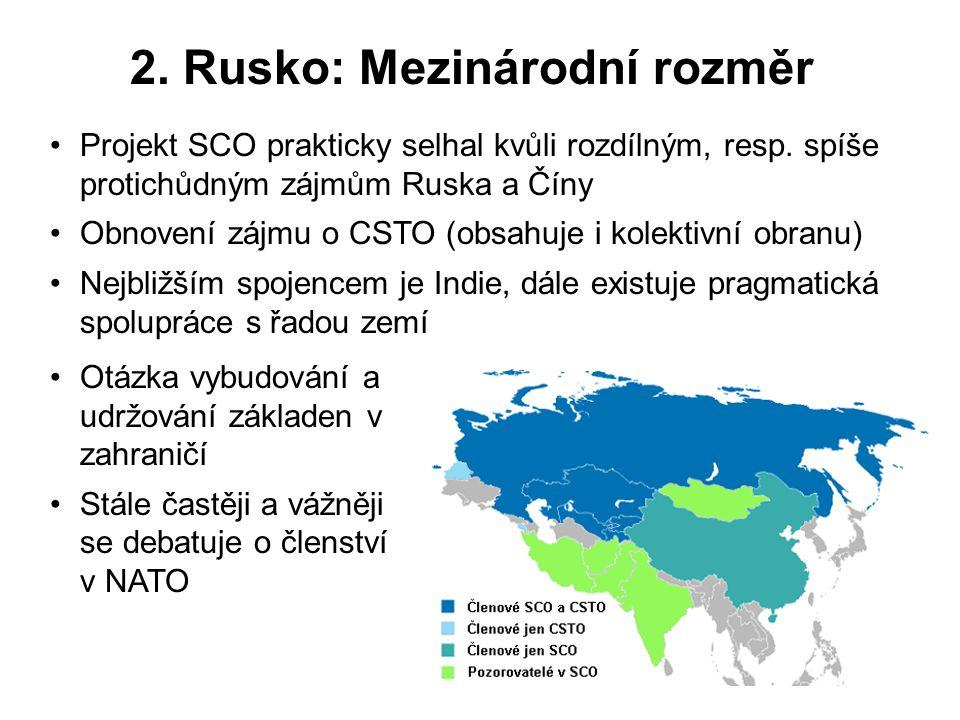 2. Rusko: Mezinárodní rozměr Projekt SCO prakticky selhal kvůli rozdílným, resp. spíše protichůdným zájmům Ruska a Číny Obnovení zájmu o CSTO (obsahuj