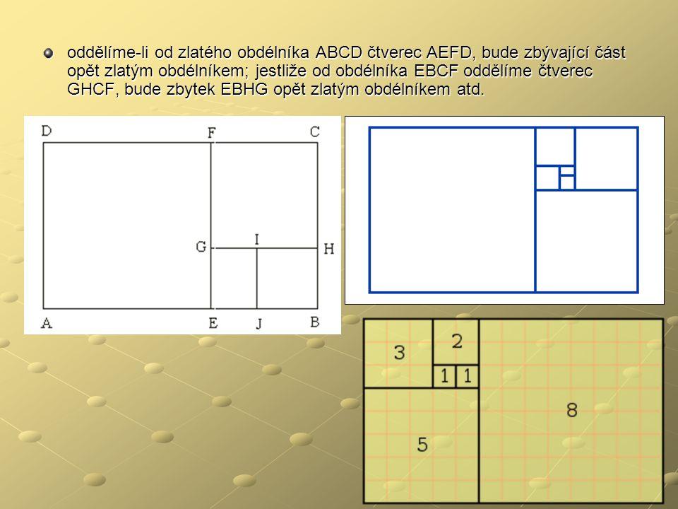 oddělíme-li od zlatého obdélníka ABCD čtverec AEFD, bude zbývající část opět zlatým obdélníkem; jestliže od obdélníka EBCF oddělíme čtverec GHCF, bude
