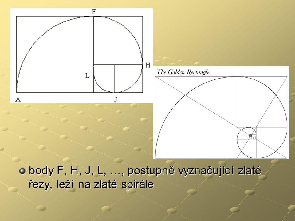 body F, H, J, L, …, postupně vyznačující zlaté řezy, leží na zlaté spirále