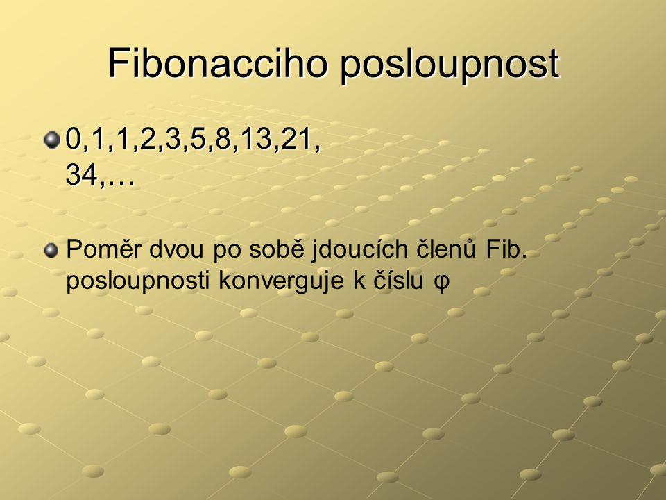 Fibonacciho posloupnost 0,1,1,2,3,5,8,13,21, 34,… Poměr dvou po sobě jdoucích členů Fib. posloupnosti konverguje k číslu φ