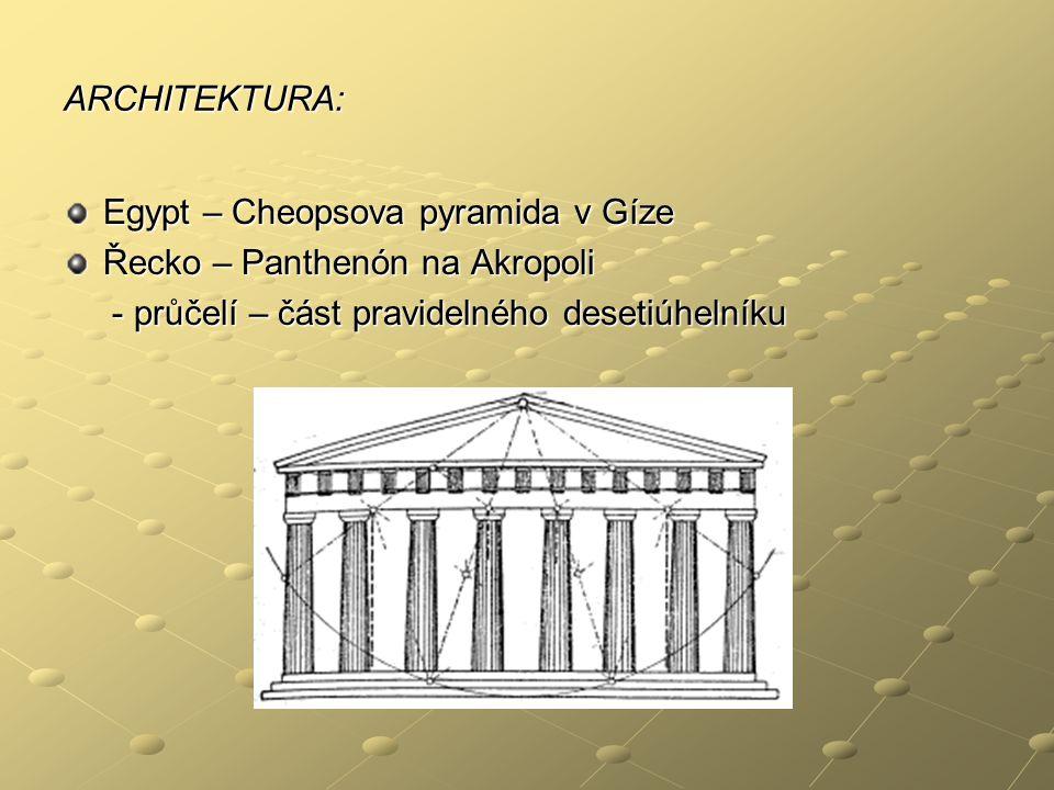ARCHITEKTURA: Egypt – Cheopsova pyramida v Gíze Řecko – Panthenón na Akropoli - průčelí – část pravidelného desetiúhelníku - průčelí – část pravidelné