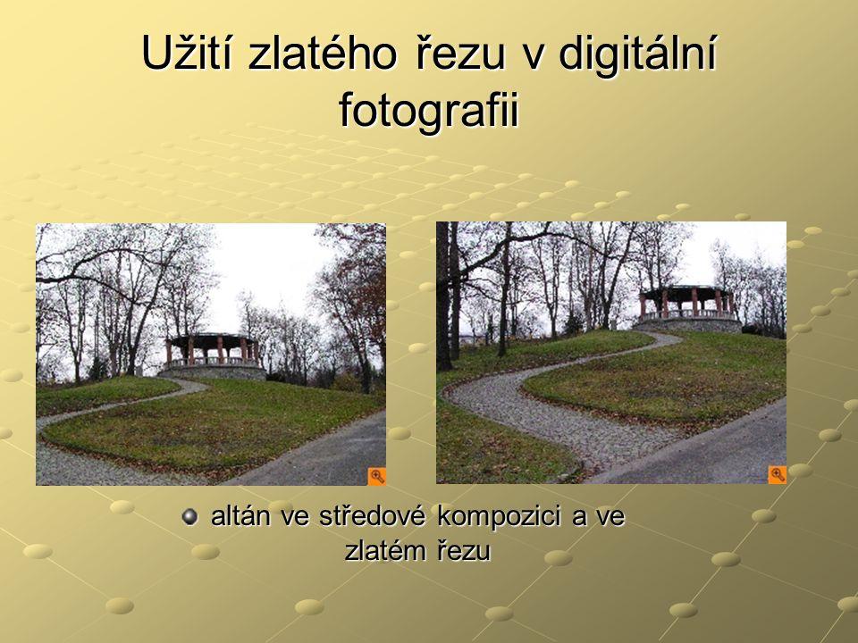 Užití zlatého řezu v digitální fotografii altán ve středové kompozici a ve zlatém řezu