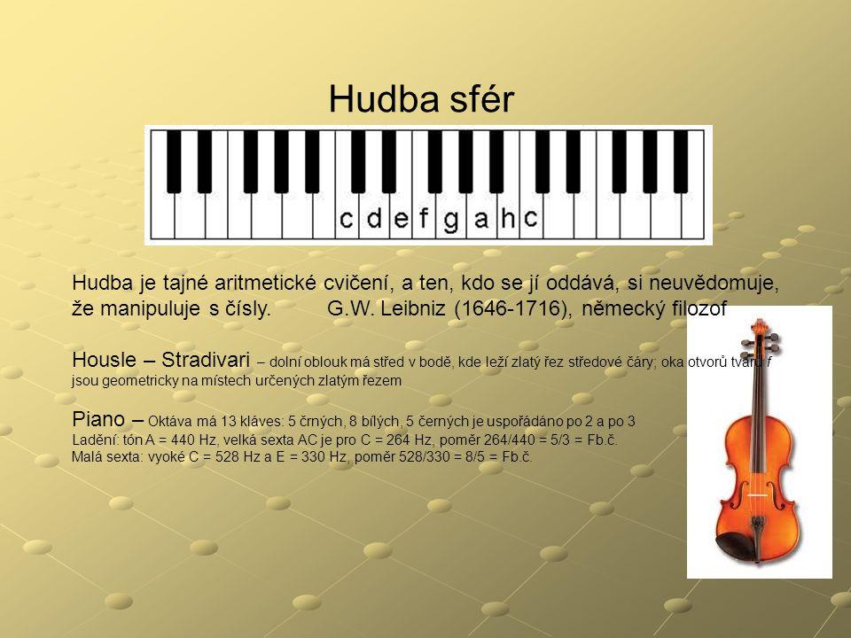 Hudba sfér Hudba je tajné aritmetické cvičení, a ten, kdo se jí oddává, si neuvědomuje, že manipuluje s čísly.G.W. Leibniz (1646-1716), německý filozo