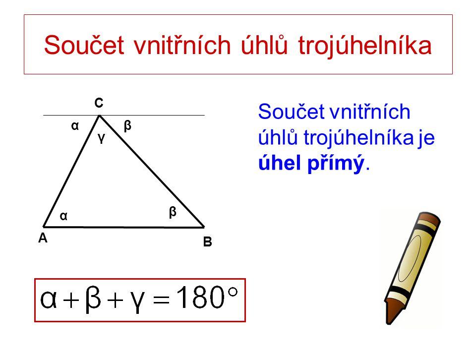 Součet vnitřních úhlů trojúhelníka Součet vnitřních úhlů trojúhelníka je úhel přímý. A B C α β β γ α