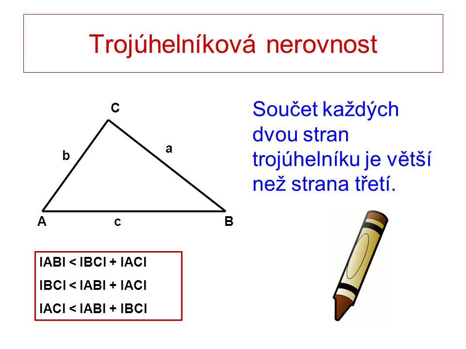 Trojúhelníková nerovnost Součet každých dvou stran trojúhelníku je větší než strana třetí. AB C a b c IABI < IBCI + IACI IBCI < IABI + IACI IACI < IAB