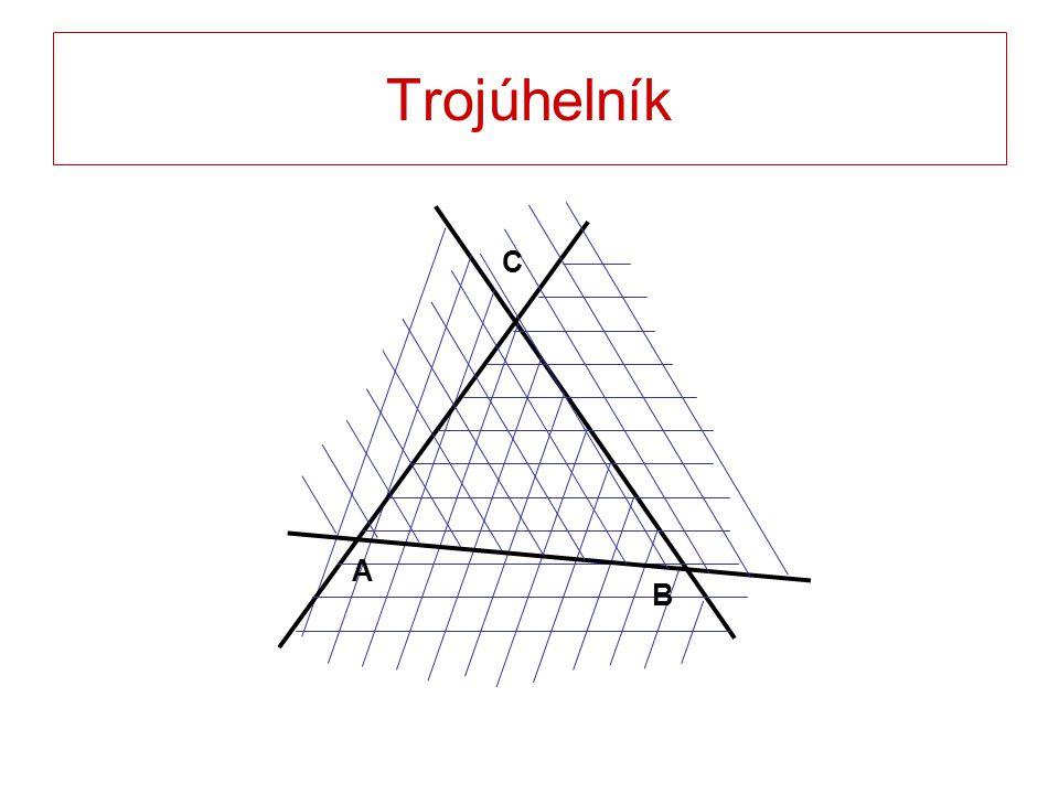 A B C Trojúhelník ABC je průnik polorovin ABC, BCA, CAB; body A, B, C jsou různé a neleží v jedné přímce.