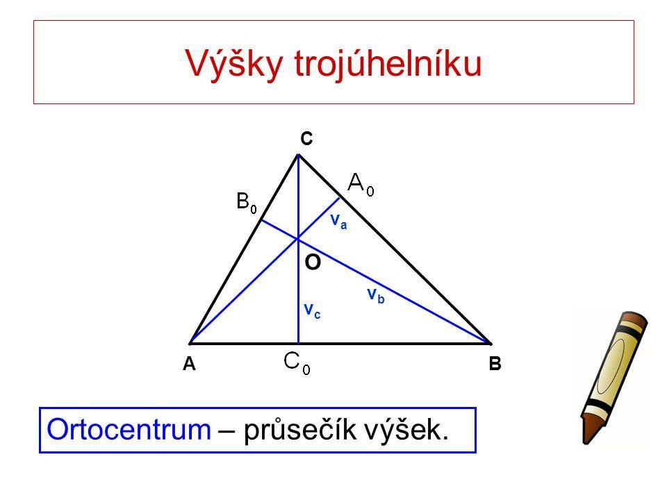 Výšky trojúhelníku Ortocentrum – průsečík výšek. BA C O vava vbvb vcvc