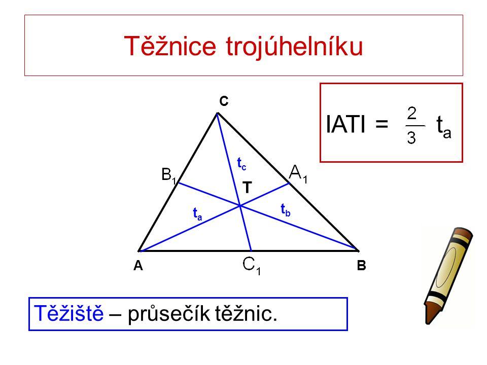 Těžnice trojúhelníku Těžiště – průsečík těžnic. T BA C tata tbtb tctc IATI = t a
