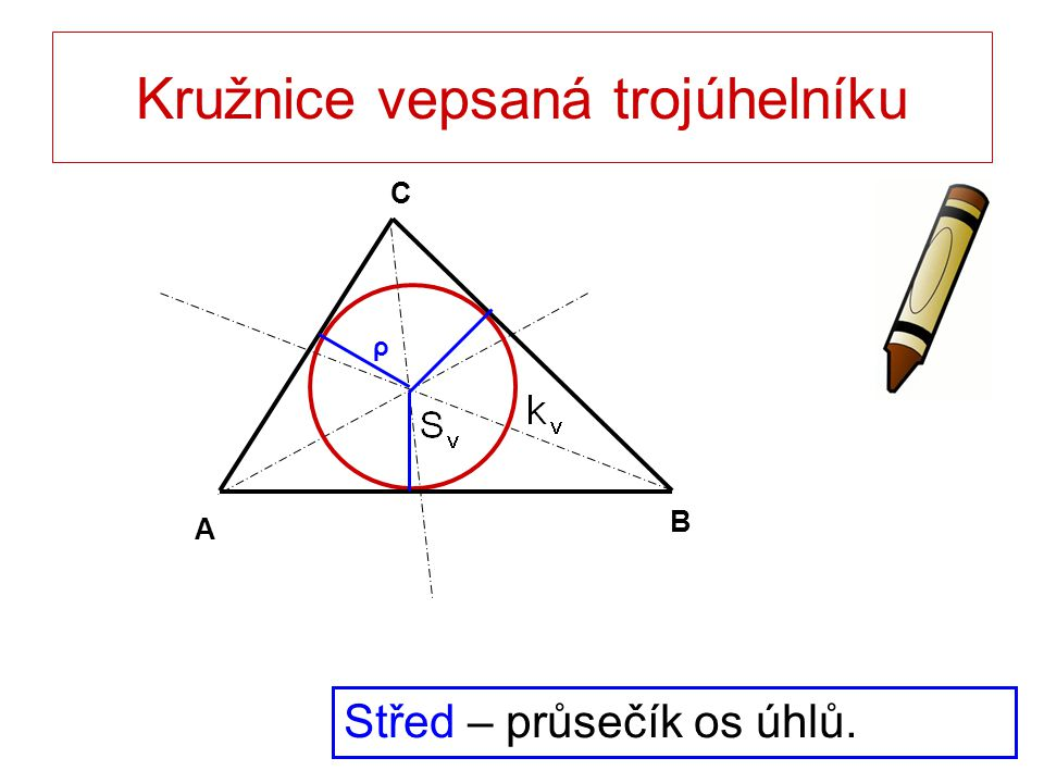 Kružnice vepsaná trojúhelníku Střed – průsečík os úhlů. B A C ρ