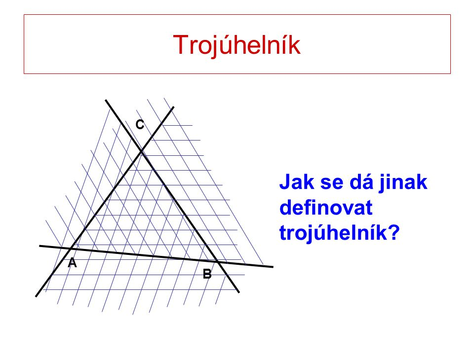 Trojúhelníky podle velikosti vnitřních úhlů Ostroúhlé Tupoúhlé Pravoúhlé
