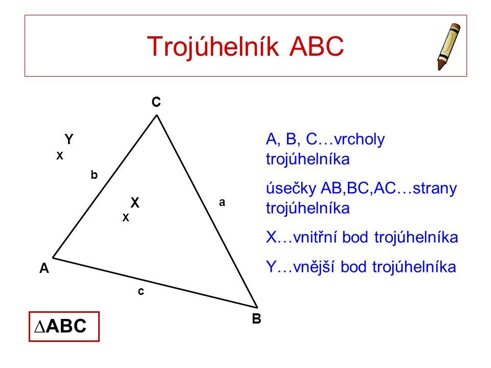 Trojúhelník ABC A, B, C…vrcholy trojúhelníka úsečky AB,BC,AC…strany trojúhelníka X…vnitřní bod trojúhelníka Y…vnější bod trojúhelníka A B C X X X Y ∆A