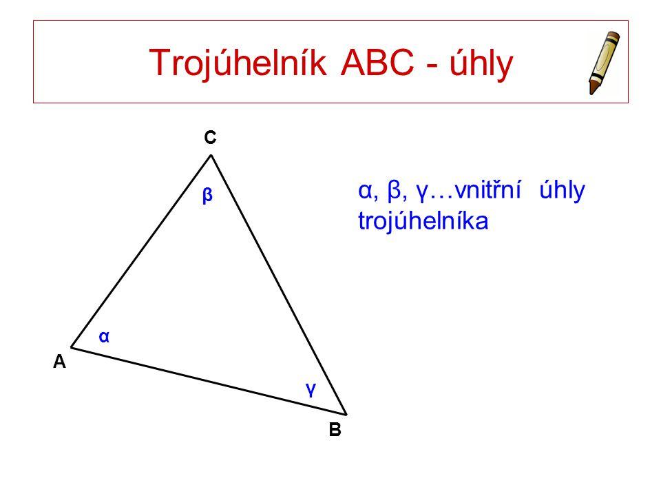 Trojúhelník ABC - úhly α, β, γ…vnitřní úhly trojúhelníka A B C α β γ