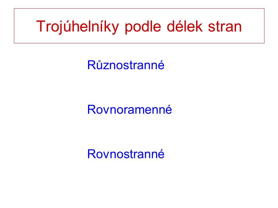Trojúhelníky podle délek stran Různostranné Rovnoramenné Rovnostranné