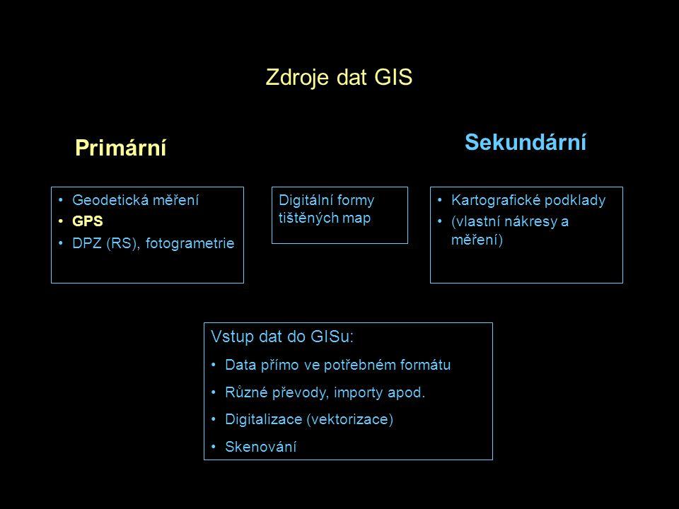 Družice Charakteristiky snímačů –Spektrální (snímaný rozsah EM spektra) –Radiometrická (bitová hloubka) –Časová (frekvence přeletu) –Geometrické (rozlišení, velikost scény) Poloha družic –Geostacionární (19 – 35 tis.