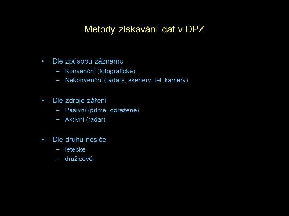Metody získávání dat v DPZ Dle způsobu záznamu –Konvenční (fotografické) –Nekonvenční (radary, skenery, tel. kamery) Dle zdroje záření –Pasivní (přímé