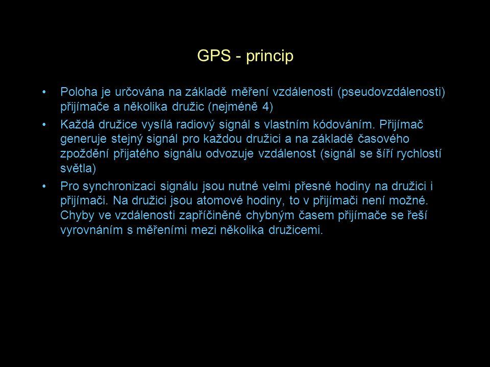 GPS - princip Poloha je určována na základě měření vzdálenosti (pseudovzdálenosti) přijímače a několika družic (nejméně 4) Každá družice vysílá radiov