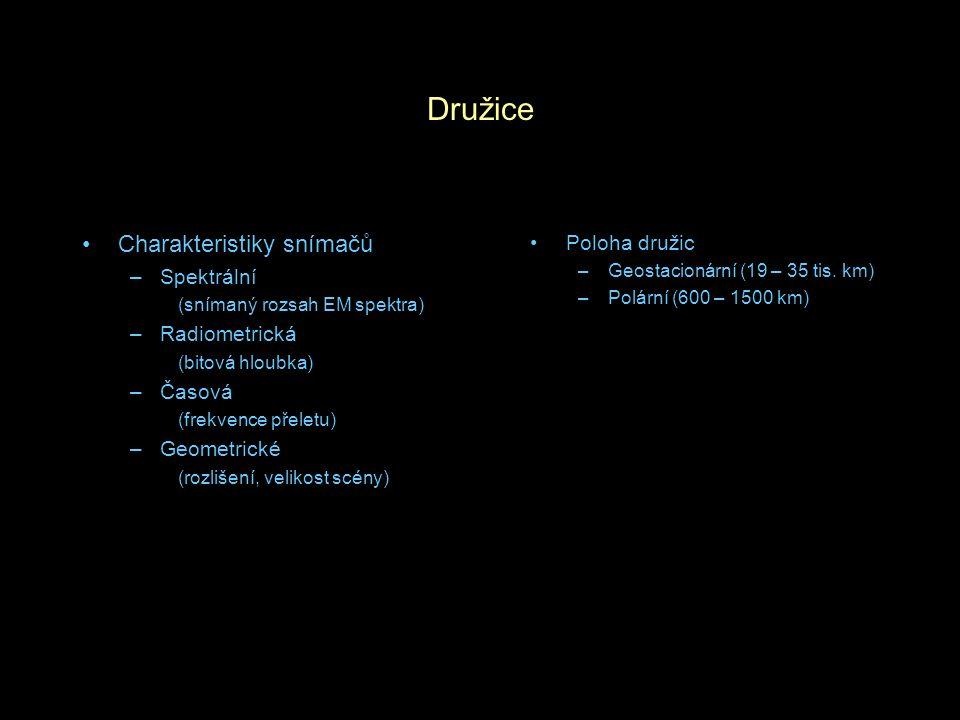 Družice Charakteristiky snímačů –Spektrální (snímaný rozsah EM spektra) –Radiometrická (bitová hloubka) –Časová (frekvence přeletu) –Geometrické (rozl