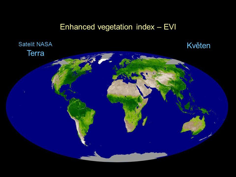 Enhanced vegetation index – EVI Květen Satelit NASA Terra