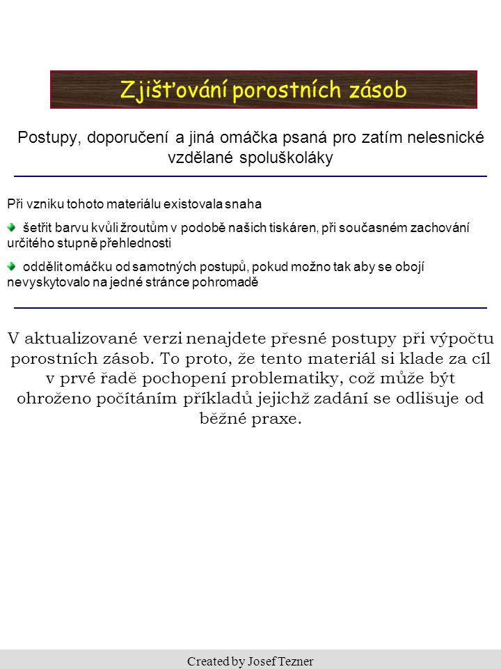 2 OBSAH Úvod do zjišťování porostních zásob – vstupní náhled na problematiku ………………….3 Kritéria výběru a výběr vhodné metody pro zjištění porostní zásoby …………………4 - 5 Relaskopování – stručný nástin metody …………………...………………………………6 Zjišťování porostních zásob pomocí zkusných ploch ……………………………………..7 Zjišťování porostních zásob pomocí JHK – postup ……………………….………….8 - 10 Zakmenění porostu a zastoupení dřevin v porostu – postup s ukázkovým příkladem 11 - 12 Zjišťování por.