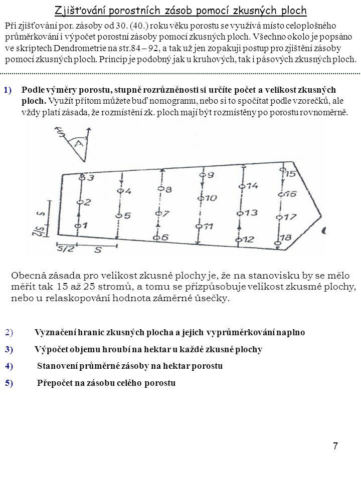8 Zjištění porostní zásoby pomocí JHK (jednotné objemové křivky) 1) Taxátoři (nebo jiní sčítači) vyprůměrkují porost.