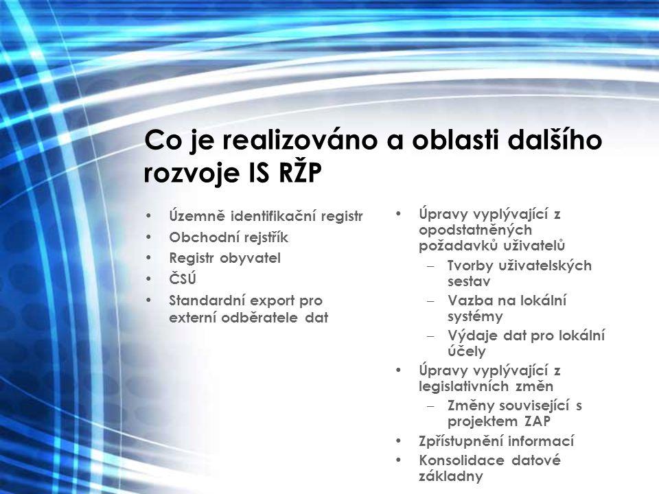 Co je realizováno a oblasti dalšího rozvoje IS RŽP Územně identifikační registr Obchodní rejstřík Registr obyvatel ČSÚ Standardní export pro externí o