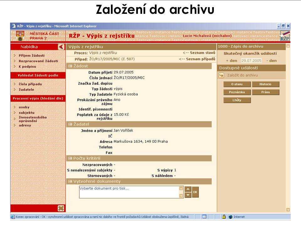 Založení do archivu