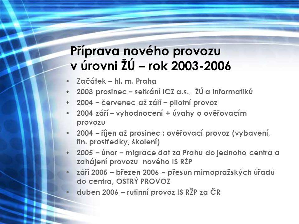 Příprava nového provozu v úrovni ŽÚ – rok 2003-2006 Začátek – hl. m. Praha 2003 prosinec – setkání ICZ a.s., ŽÚ a informatiků 2004 – červenec až září
