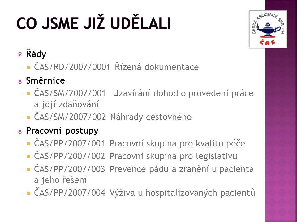  Řády  ČAS/RD/2007/0001 Řízená dokumentace  Směrnice  ČAS/SM/2007/001 Uzavírání dohod o provedení práce a její zdaňování  ČAS/SM/2007/002 Náhrady