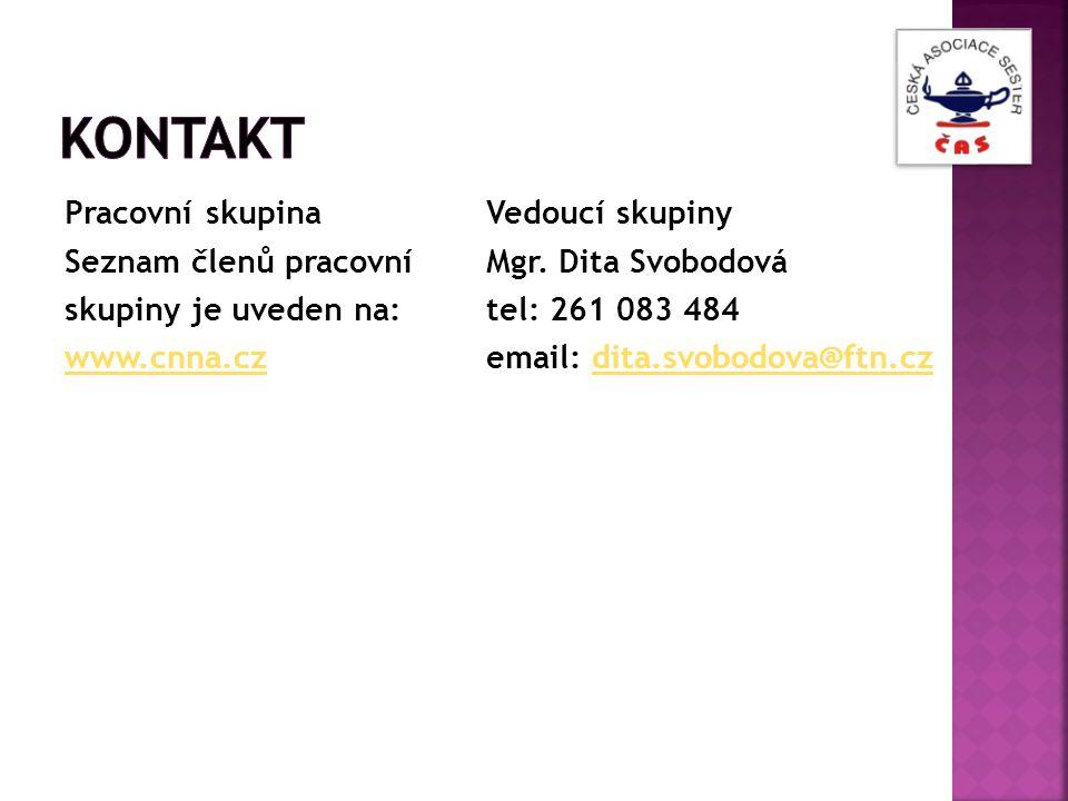 Pracovní skupina Seznam členů pracovní skupiny je uveden na: www.cnna.cz Vedoucí skupiny Mgr. Dita Svobodová tel: 261 083 484 email: dita.svobodova@ft