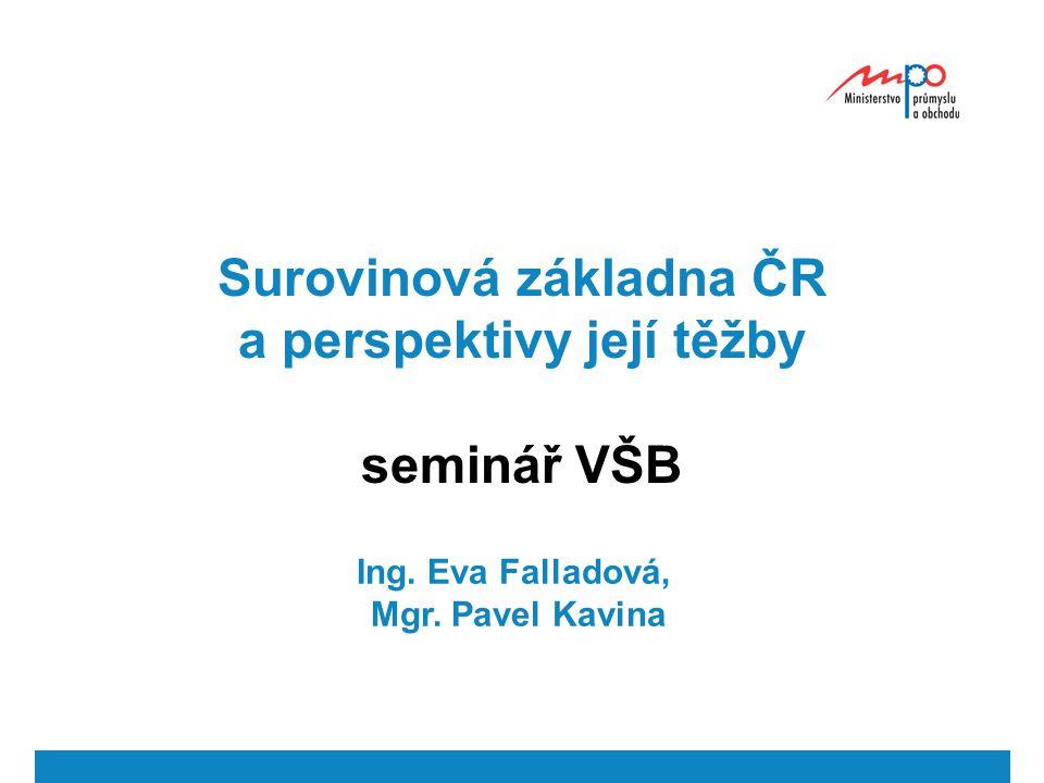 Surovinová základna ČR a perspektivy její těžby seminář VŠB Ing. Eva Falladová, Mgr. Pavel Kavina
