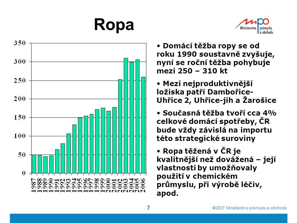  2007  Ministerstvo průmyslu a obchodu 7 Ropa Domácí těžba ropy se od roku 1990 soustavně zvyšuje, nyní se roční těžba pohybuje mezi 250 – 310 kt Mezi nejproduktivnější ložiska patří Dambořice- Uhřice 2, Uhřice-jih a Žarošice Současná těžba tvoří cca 4% celkové domácí spotřeby, ČR bude vždy závislá na importu této strategické suroviny Ropa těžená v ČR je kvalitnější než dovážená – její vlastnosti by umožňovaly použití v chemickém průmyslu, při výrobě léčiv, apod.