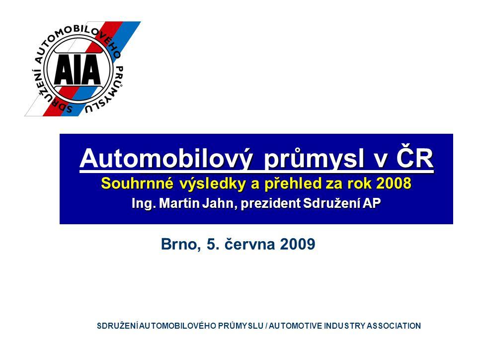mobilový průmysl v ČR Automobilový průmysl v ČR Souhrnné výsledky a přehled za rok 2008 Ing.