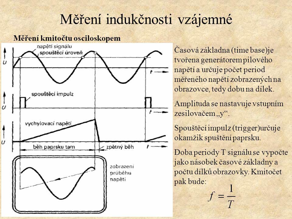 Měření indukčnosti vzájemné Měření kmitočtu osciloskopem Časová základna (time base)je tvořena generátorem pilového napětí a určuje počet period měřen