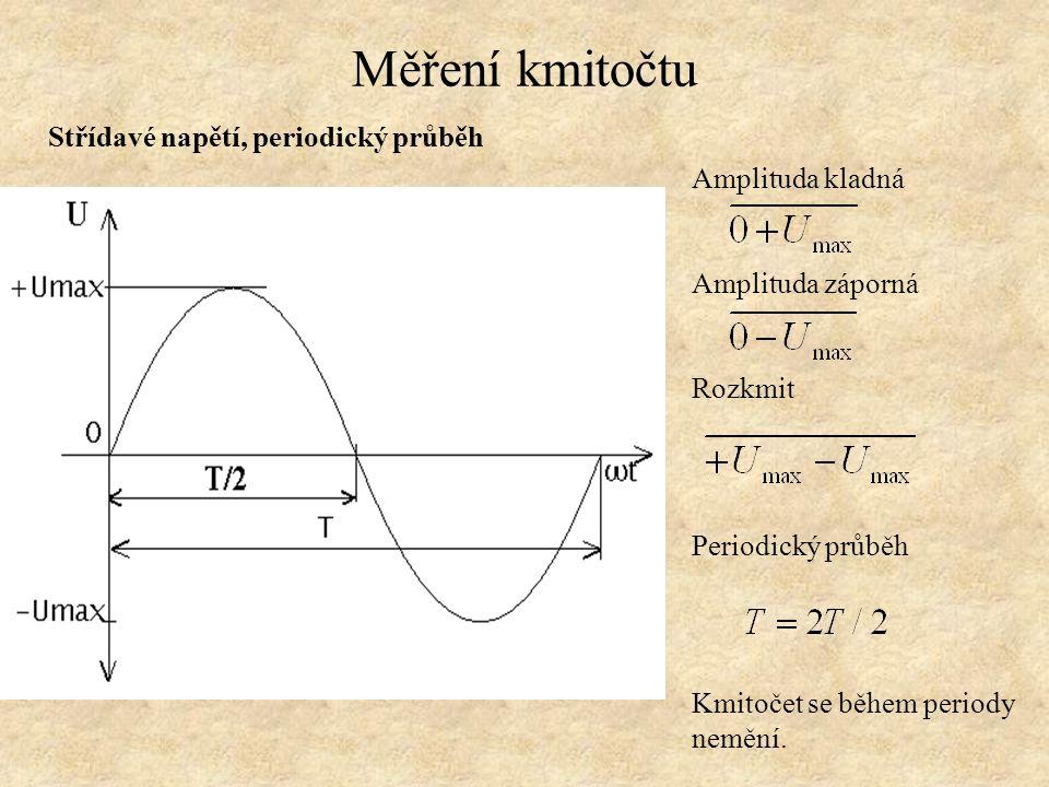 Měření kmitočtu Střídavé, stejnosměrná složka Jestliže platí: Pak existuje stejnosměrná složka: Pozn.: Stejnosměrnou složku lze odfiltrovat kondenzátorem.