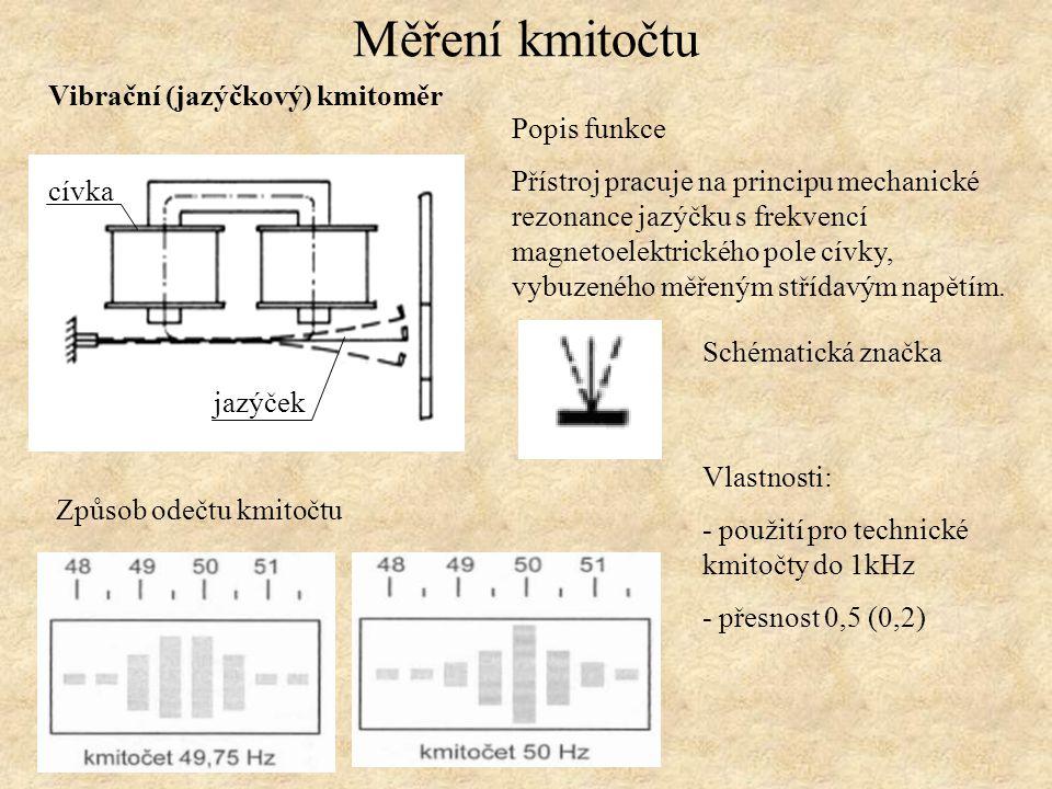 Měření kmitočtu Ručkový kmitoměr Měřící ústrojí je poměrové (elektrodynamické), každá cívka je spojena se sériovým rezonančním obvodem, každý z nich je naladěn na kmitočet o 10% nad nebo pod měřený kmitočet.