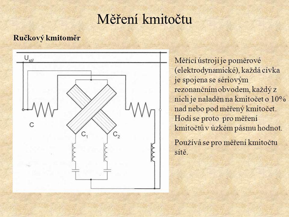 Měření kmitočtu Ručkový kmitoměr Měřící ústrojí je poměrové (elektrodynamické), každá cívka je spojena se sériovým rezonančním obvodem, každý z nich j