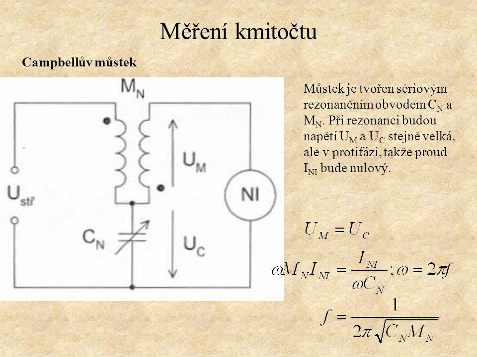 Měření kmitočtu Campbellův můstek Můstek je tvořen sériovým rezonančním obvodem C N a M N. Při rezonanci budou napětí U M a U C stejně velká, ale v pr