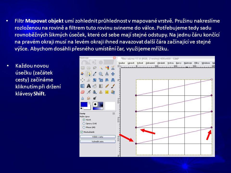 Filtr Mapovat objekt umí zohlednit průhlednost v mapované vrstvě.