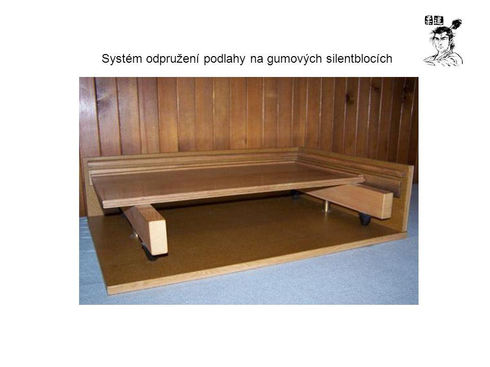 Systém odpružení podlahy na gumových silentblocích