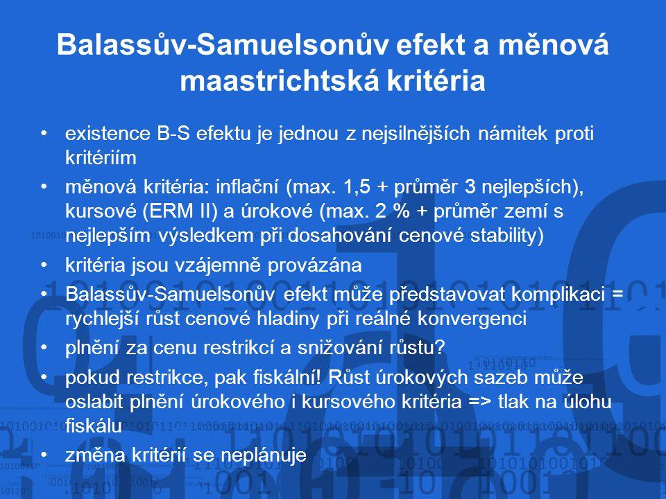 Balassův-Samuelsonův efekt a měnová maastrichtská kritéria existence B-S efektu je jednou z nejsilnějších námitek proti kritériím měnová kritéria: inf